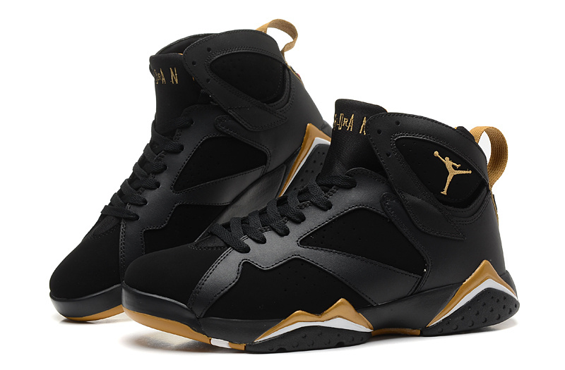 New Release Jordan 7 Retro Black Gold Shoes