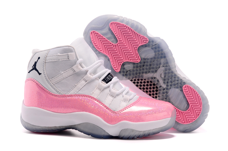 New Women Air Jordan 11 Colorful White Pink Shoes