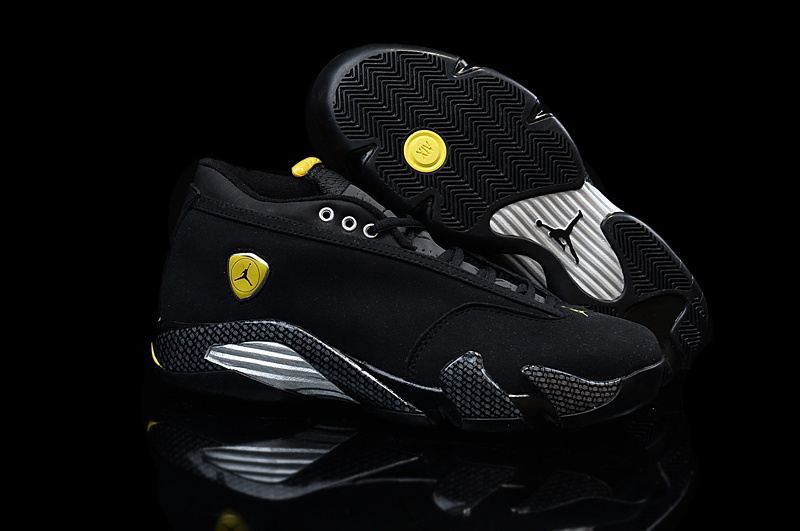 New Women Air Jordan 14 Low Black Yellow Shoes