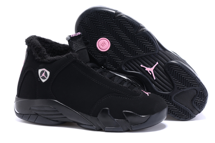 New Women Air Jordan 14 Wool Black Silver Pink Shoes