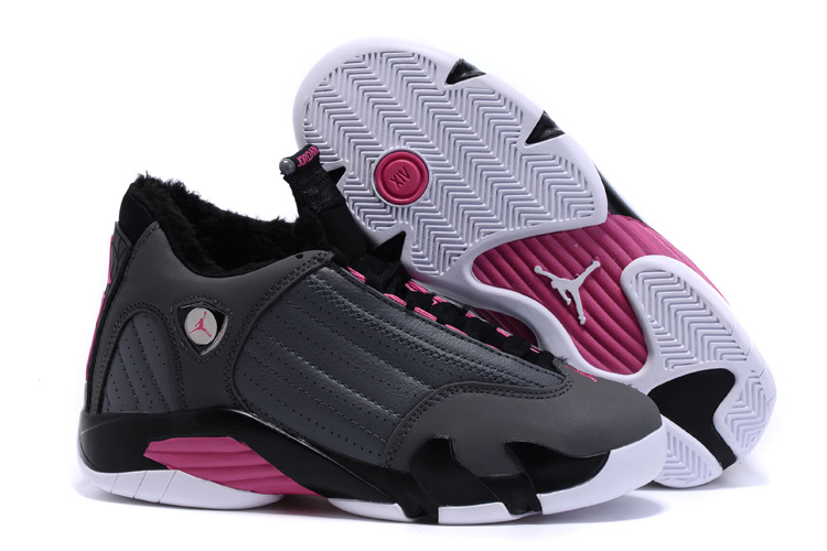 New Women Air Jordan 14 Wool Grey Black Pink Shoes