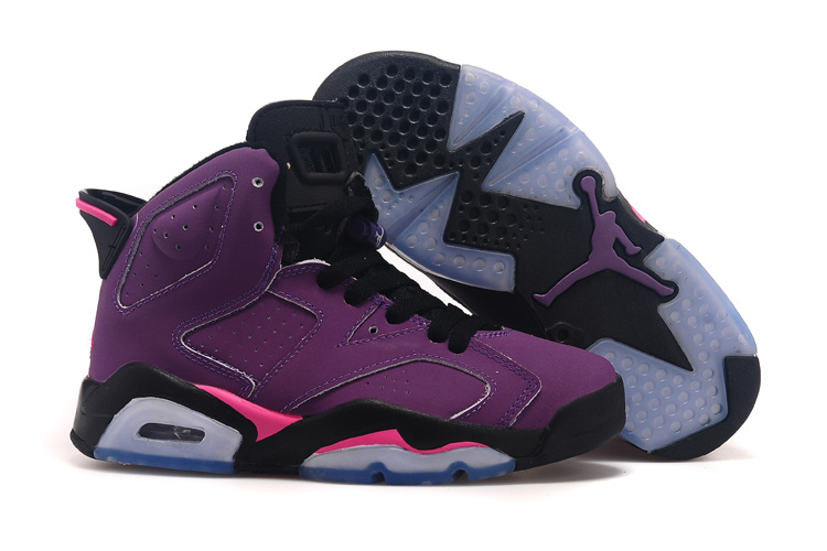 New Women Air Jordan 6 Retro Grape Black Pink Shoes