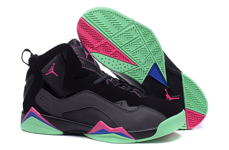 lower price with 46e01 f5c26 New Women Air Jordan 7 Improved Black Grey Pink Green Shoes