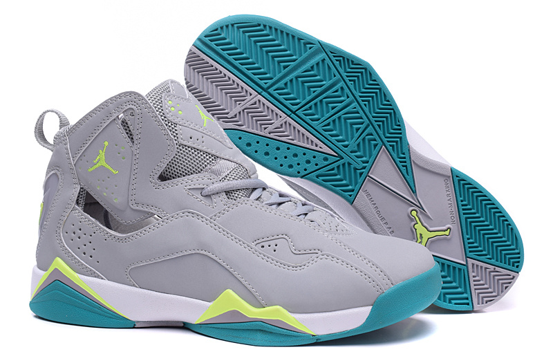 size 40 74004 593fa ... Flash-Mint New Women Air Jordan 7 Improved Grey Fluorscent Green Shoes  ...