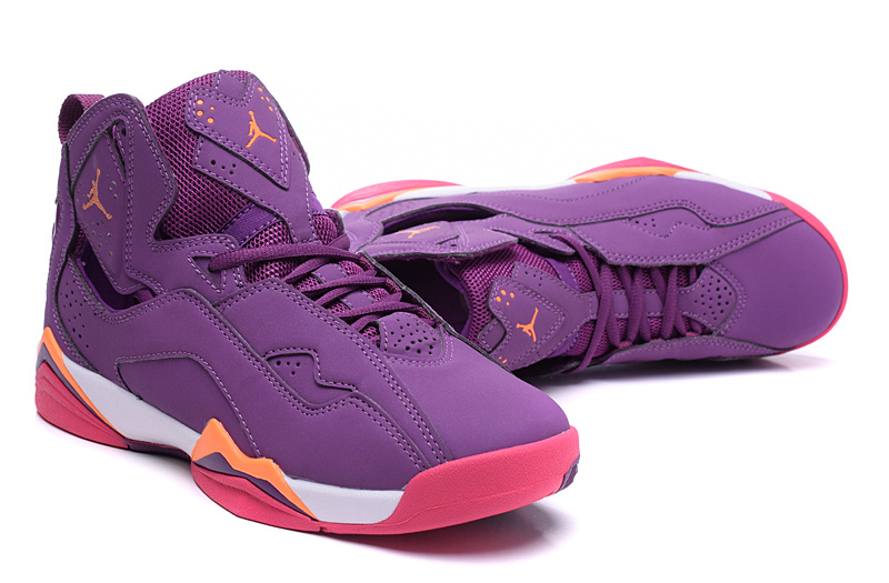 New Women Air Jordan 7 Improved Purple Red Shoes