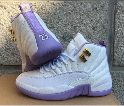 New Women Jordan 12 Retro White Purple Shoes