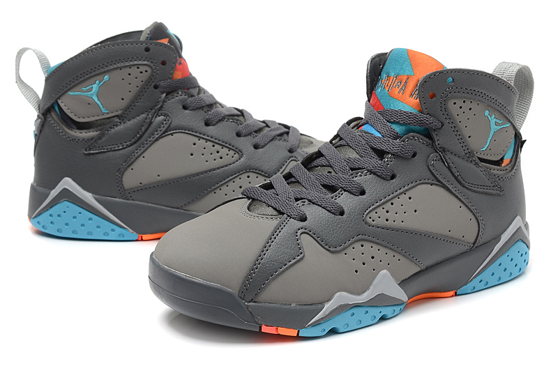 New Women Jordan 7 Retro Black Grey Blue Orange Shoes