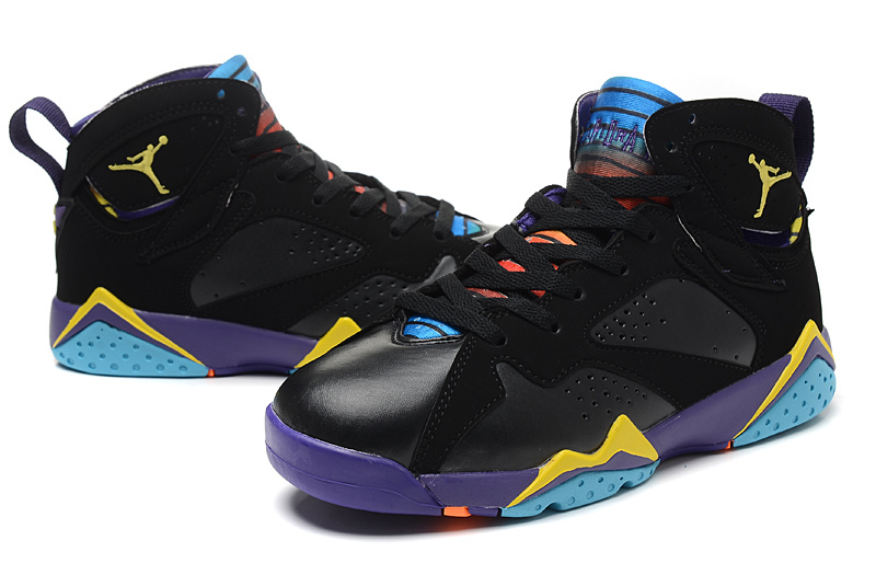 New Women Jordan 7 Retro Black Purple Yellow Blue Shoes