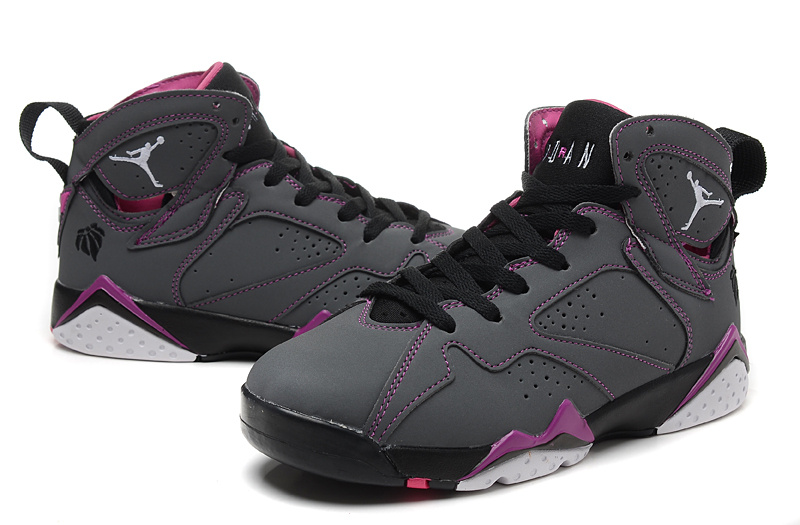 pretty nice 0405c 86059 New Women Jordan 7 Retro Grey Purple Black Shoes