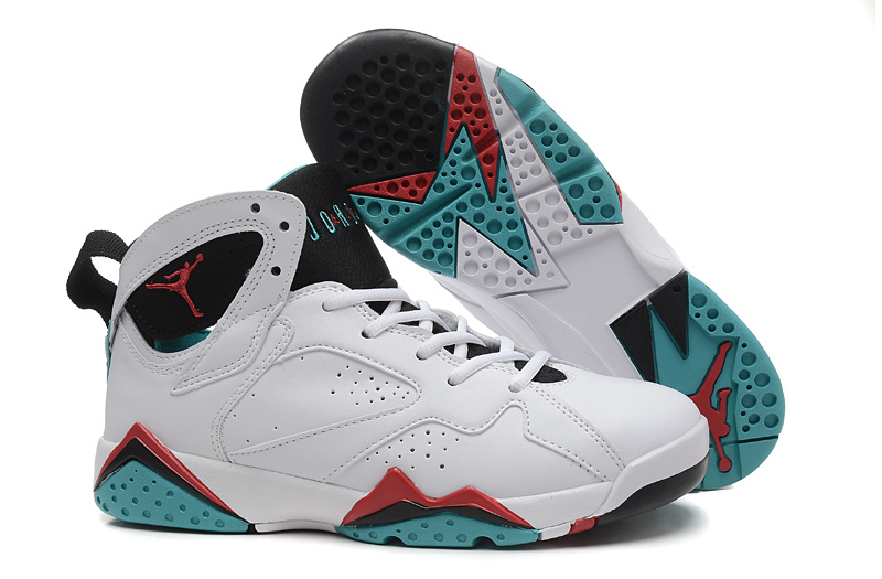 New Women Jordan 7 Retro White Red Black Green Shoes b2476c6a6