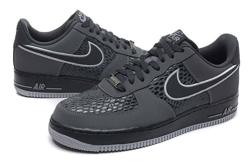 Nike Air Force Low 2014 Snake Scale Weaving Grey Black Sneaker