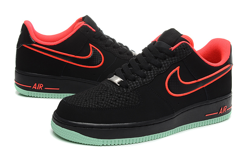 Nike Air Force Low Black Red Mint green Sneaker