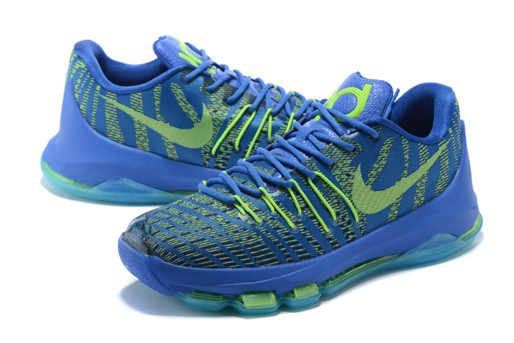 Nike KD 8 Blue With Fluorescent Green Sole Basketball Shoes