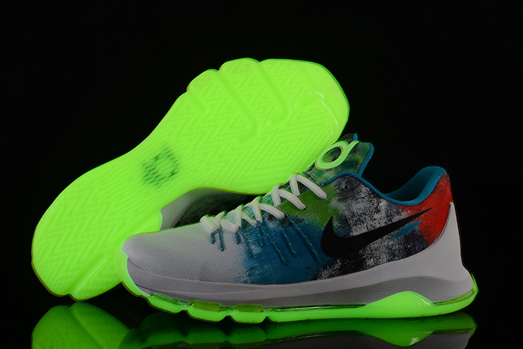 Nike KD 8 Grey Blue Red Glow In Darn Green Basketball Shoes