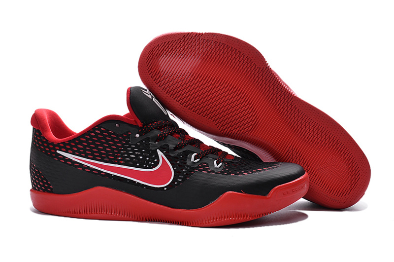Nike Kobe 11 Black Red Color Woven Basketball Shoes