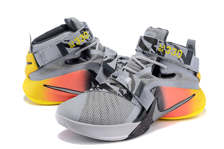Nike LeBron Solider 9 Grey Yellow Orange Basketabll Shoes