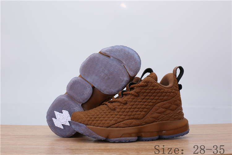 Nike Lebron James 15 Brown Ice Sole Shoes For Kids