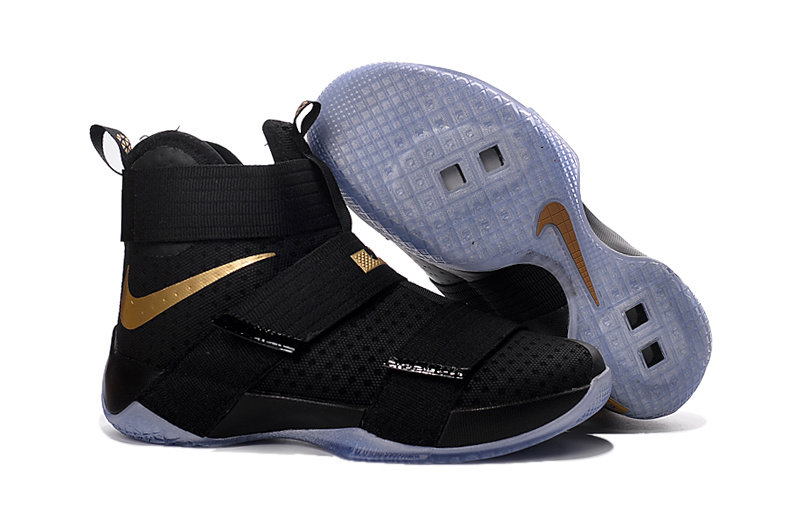 2023757823ff Nike Lebron Solider 10 Black Gloden Basketball Shoes
