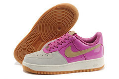 Nike Women Air Force 1 Low Grey Pink Glod Swoosh Sneaker