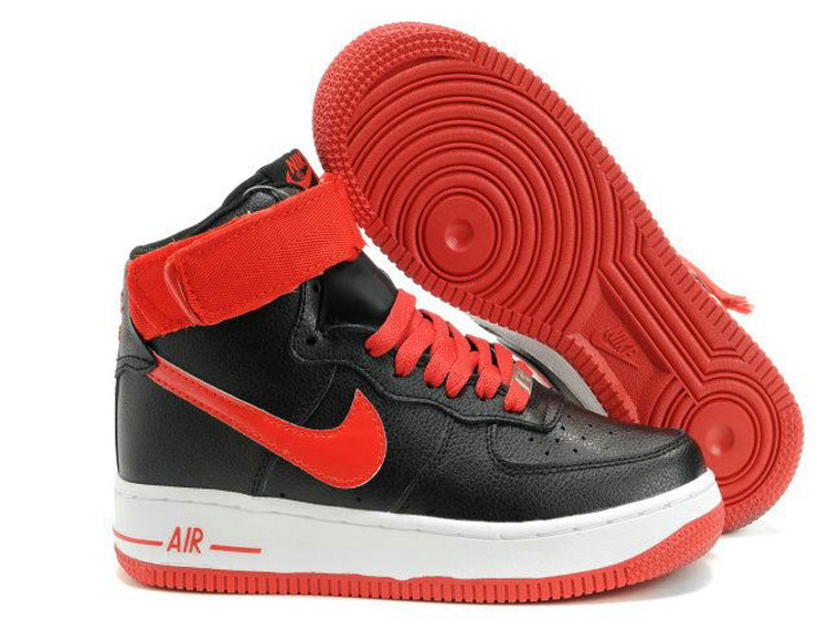 Nike Women Air Force Mid Black Red Sneaker
