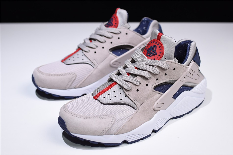 Nike Air Huarache Run Moon Particle White Neutral Indigo Mens Shoes
