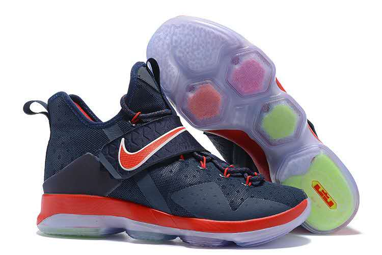 Nike Lebron 14 Dark Blue Red Basketball Shoes