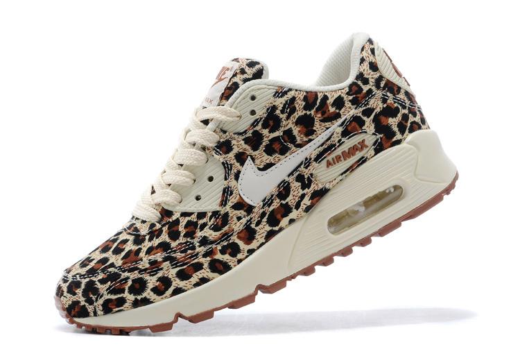 Nike Women Air Max 90 Leopard Print Brown White