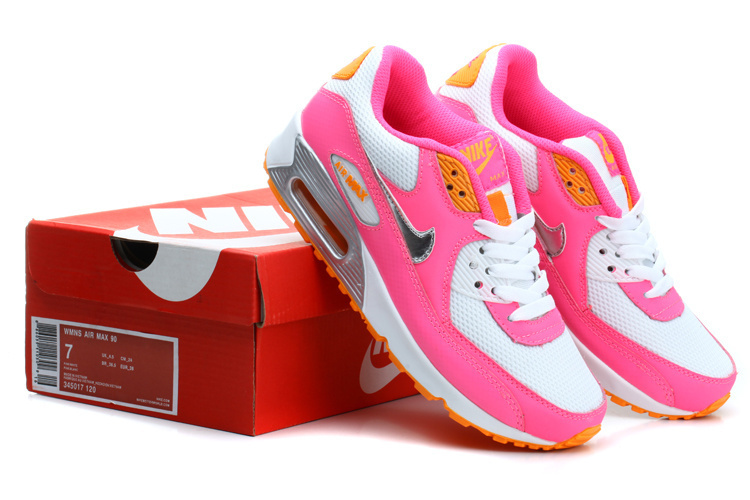 Nike Women Air Max 90 Pink Rainbow Running Shoes