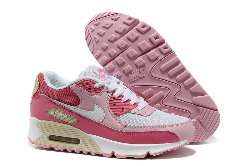 Nike Women Air Max 90 Pink Red Running Shoes