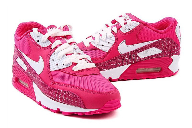 Nike Women Air Max 90 Red White Running Shoes