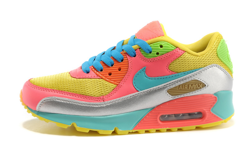 Nike Women Air Max 90 Red Yellow Blue Rainbow Running Shoes