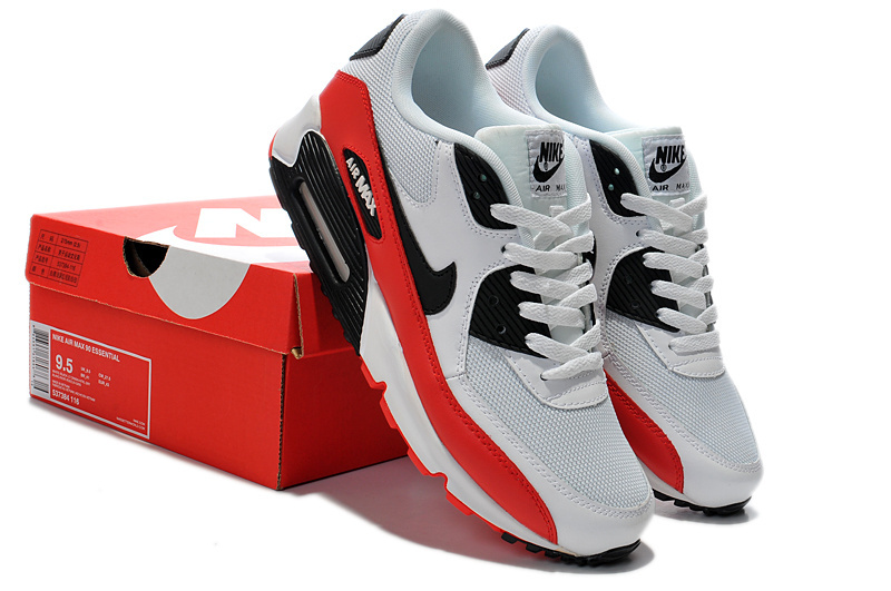 Nike Women Air Max 90 White Red Black Running Shoes