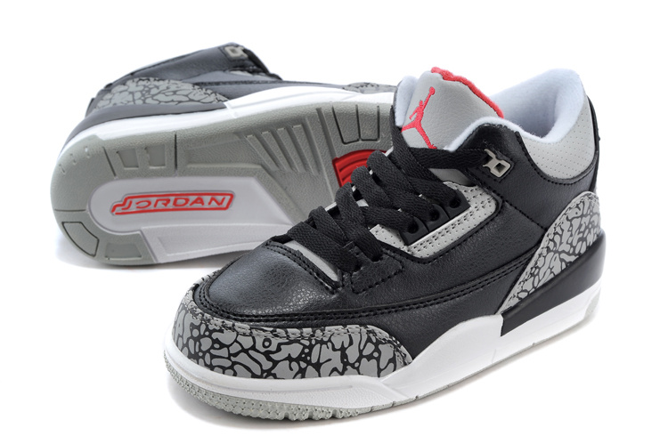 Original Air Jordan 3 Black Cement Grey Red Shoes