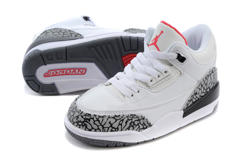 Original Kids Air Jordan 3 White Cement Grey Red Shoes