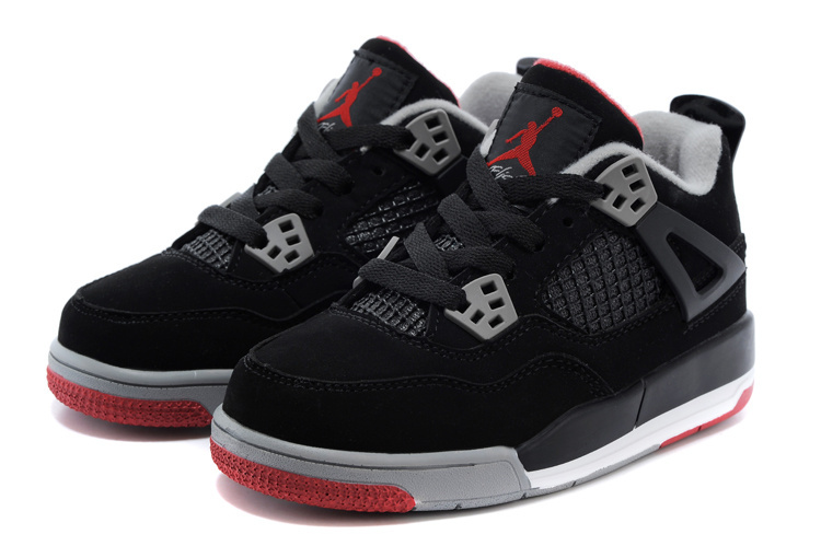 Original Kids Air Jordan 4 Black Grey Red Shoes