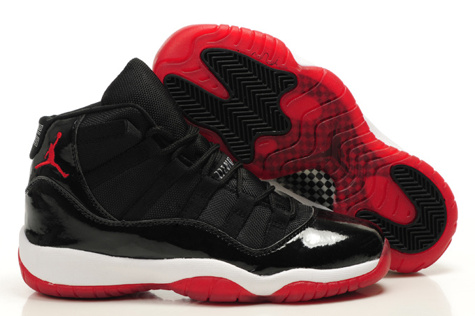 Original Womens Air Jordan 11 Bred Black Red White Shoes