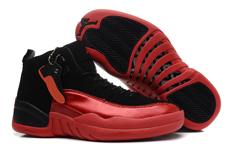Original Womens Air Jordan 12 Black Red Shoes