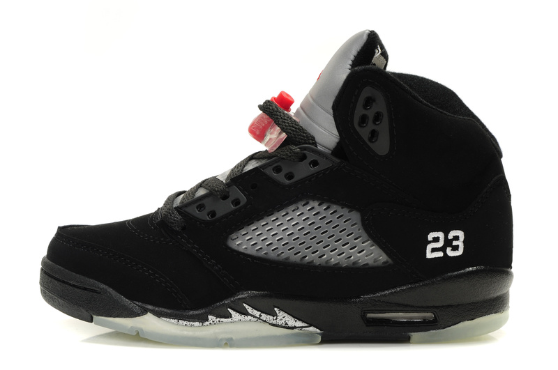 Original Womens Air Jordan 5 Black Silver Shoes