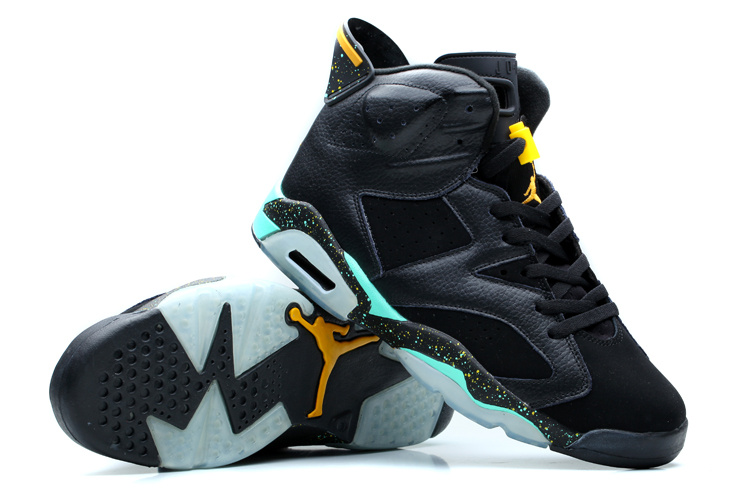 Original Womens Air Jordan 6 Black Green Yellow Shoes e2ac2eb84