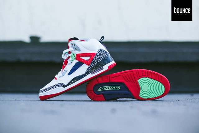 Poison Green Jordan Spizike Shoes White Red Grey