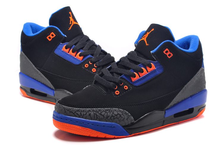 Popular Air Jordan 3 Black Blue Orange Shoes