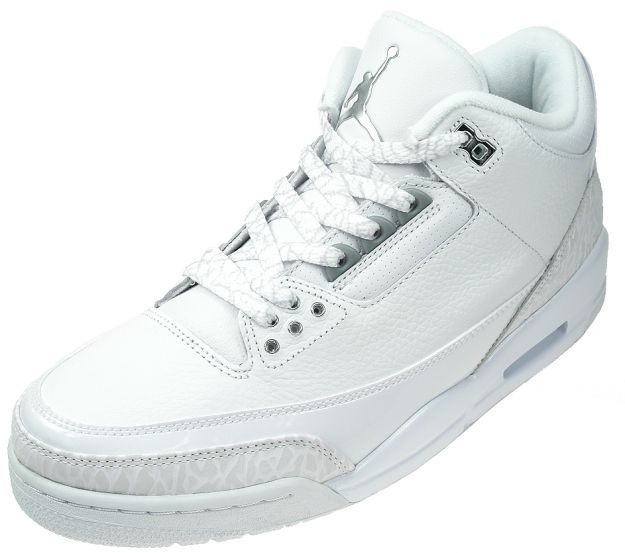 Special Air Jordan 3 Retro PureMoney All White Metalic Silver Shoes
