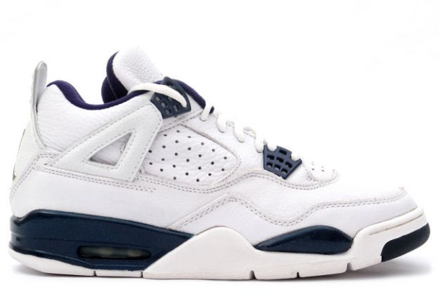 Special Michael Jordan 4 Retro 1999 White Columbia Blue Midnight Navy Shoes