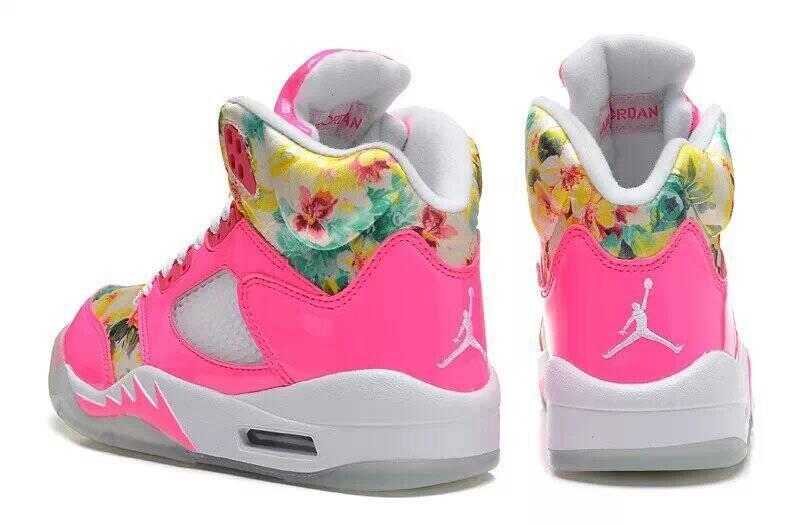 92a09ae5b9e23c Special Womens Air Jordan 5 Sakura Print Pink Red White Shoes On ...