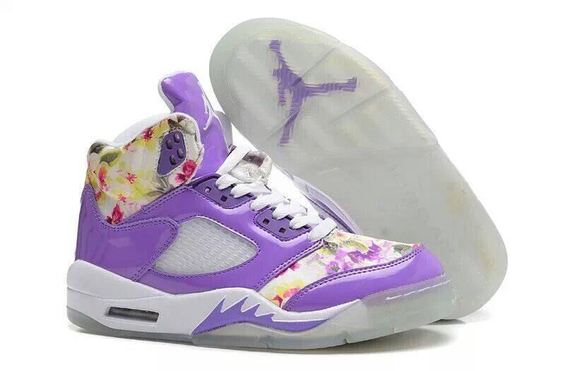 Comfortable Special Womens Air Jordan 5 Sakura Print Purple White ... 9a5a27499