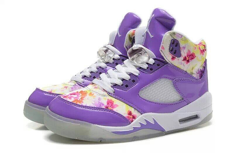 71549a5a5f68 Comfortable Special Womens Air Jordan 5 Sakura Print Purple White ...