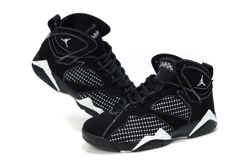 Special Womens Air Jordan 7 Retro Embroided Black White Shoes