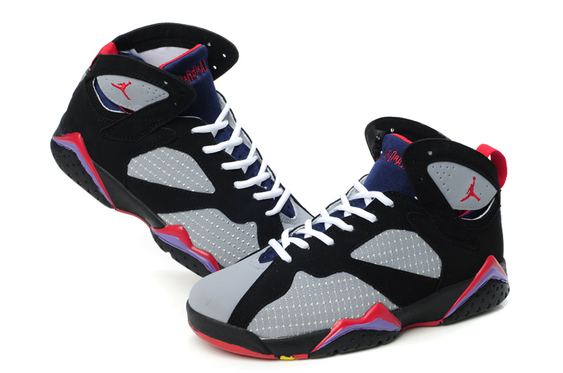 Special Womens Air Jordan 7 Retro Embroided Grey Black Red Shoes