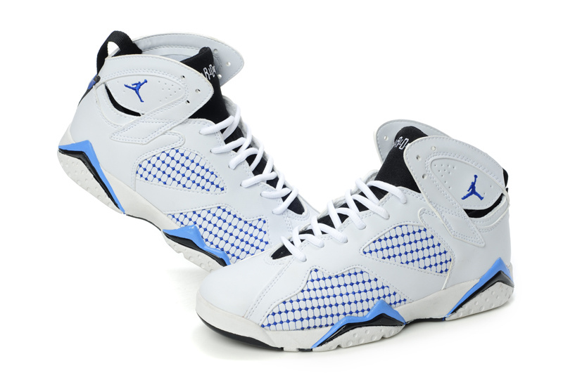 Special Womens Air Jordan 7 Retro Embroided White Blue Shoes
