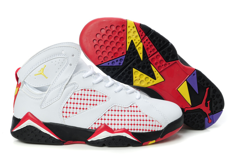 Special Womens Air Jordan 7 Retro Embroided White Red Yellow Shoes